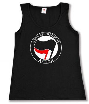 tailliertes Tanktop: Antifaschistische Aktion (schwarz/rot)