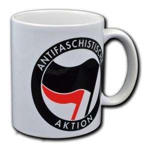 Tasse: Antifaschistische Aktion (schwarz/rot)