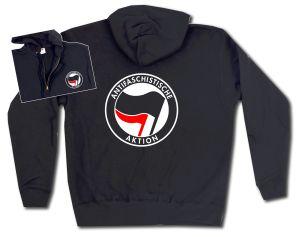 Kapuzen-Jacke: Antifaschistische Aktion (schwarz/rot)