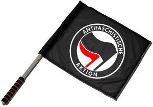 Fahne / Flagge (ca. 40x35cm): Antifaschistische Aktion (schwarz/rot)