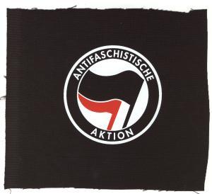 Aufnäher: Antifaschistische Aktion (schwarz/rot)