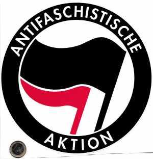 Aufkleber: Antifaschistische Aktion (schwarz/rot, 21cm x 21cm)