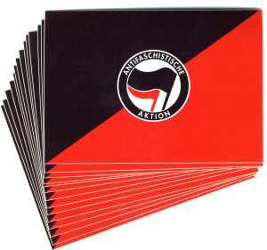 Aufkleber-Paket: Antifaschistische Aktion (schwarz/rot) mit schwarz/rotem Hintergrund
