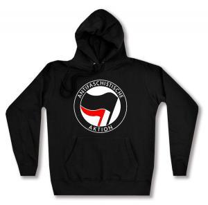 taillierter Kapuzen-Pullover: Antifaschistische Aktion (schwarz/rot)
