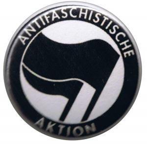 25mm Magnet-Button: Antifaschistische Aktion (schwarz/schwarz)