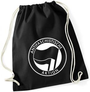 Sportbeutel: Antifaschistische Aktion (schwarz/schwarz)