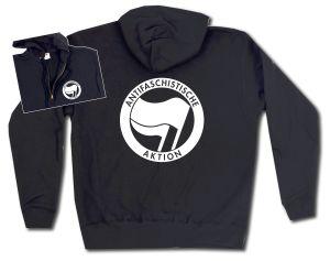 Kapuzen-Jacke: Antifaschistische Aktion (schwarz/schwarz)