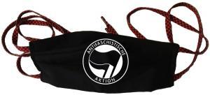 Mundmaske: Antifaschistische Aktion (schwarz/schwarz)