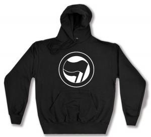 Kapuzen-Pullover: Antifaschistische Aktion (schwarz/schwarz) ohne Schrift