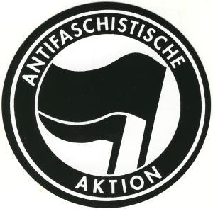 Aufkleber: Antifaschistische Aktion (schwarz/schwarz)