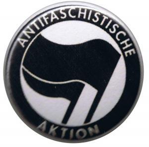 50mm Magnet-Button: Antifaschistische Aktion (schwarz/schwarz)