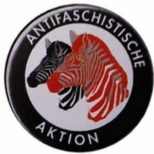 37mm Magnet-Button: Antifaschistische Aktion (Zebras)