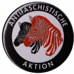 25mm Button: Antifaschistische Aktion (Zebras)