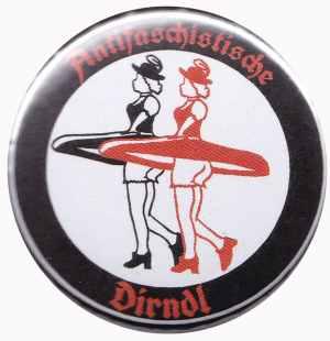 37mm Magnet-Button: Antifaschistische Dirndl