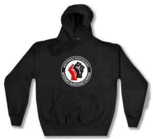Kapuzen-Pullover: Antifaschistisches Widerstandsnetzwerk - Fäuste (rot/schwarz)
