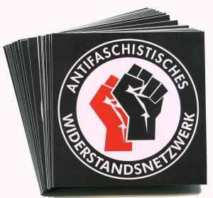 Aufkleber-Paket: Antifaschistisches Widerstandsnetzwerk - Fäuste (rot/schwarz)