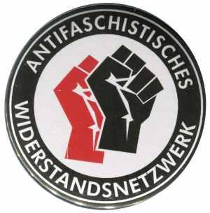 37mm Magnet-Button: Antifaschistisches Widerstandsnetzwerk - Fäuste (rot/schwarz)