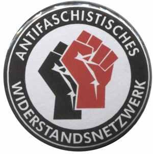 50mm Button: Antifaschistisches Widerstandsnetzwerk - Fäuste (schwarz/rot)