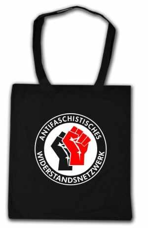 Baumwoll-Tragetasche: Antifaschistisches Widerstandsnetzwerk - Fäuste (schwarz/rot)