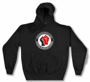 Kapuzen-Pullover: Antifaschistisches Widerstandsnetzwerk - Fäuste (schwarz/rot)