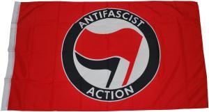 Fahne / Flagge (ca. 150x100cm): Antifascist Action (rot/schwarz)