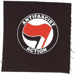 Aufnäher: Antifascist Action (rot/schwarz)
