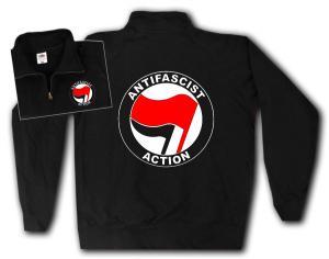 Sweat-Jacket: Antifascist Action (rot/schwarz)