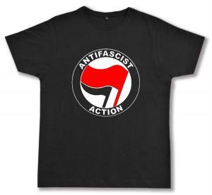Fairtrade T-Shirt: Antifascist Action (rot/schwarz)