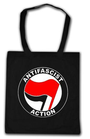 Baumwoll-Tragetasche: Antifascist Action (rot/schwarz)