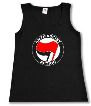 tailliertes Tanktop: Antifascist Action (rot/schwarz)