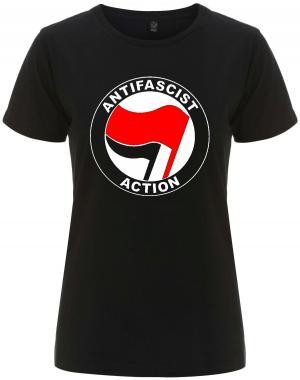 tailliertes Fairtrade T-Shirt: Antifascist Action (rot/schwarz)