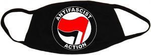 Mundmaske: Antifascist Action (rot/schwarz)