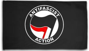 Fahne / Flagge (ca. 150x100cm): Antifascist Action (schwarz/rot)