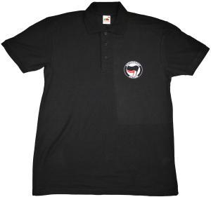 Polo-Shirt: Antifascist Action (schwarz/rot)