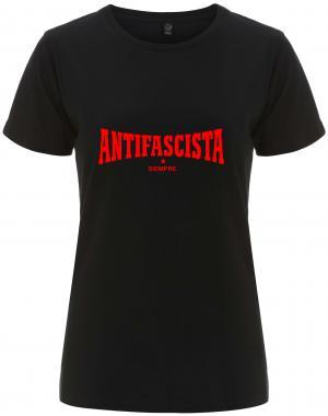 tailliertes Fairtrade T-Shirt: Antifascista siempre