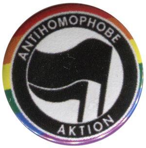 37mm Magnet-Button: Antihomophobe Aktion (schwarz/schwarz)