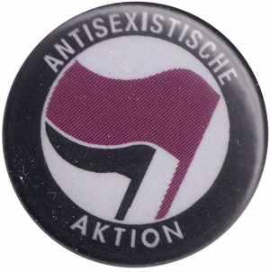 37mm Magnet-Button: Antisexistische Aktion (lila/schwarz)