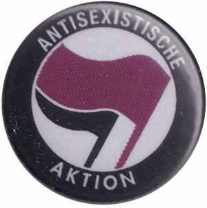 50mm Button: Antisexistische Aktion (lila/schwarz)