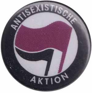 50mm Magnet-Button: Antisexistische Aktion (lila/schwarz)