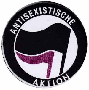 25mm Button: Antisexistische Aktion (schwarz/lila)