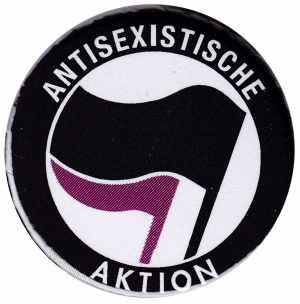 37mm Button: Antisexistische Aktion (schwarz/lila)