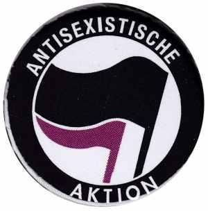 37mm Magnet-Button: Antisexistische Aktion (schwarz/lila)