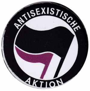 50mm Button: Antisexistische Aktion (schwarz/lila)