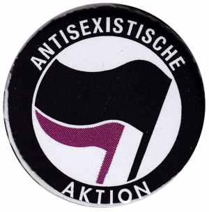 50mm Magnet-Button: Antisexistische Aktion (schwarz/lila)