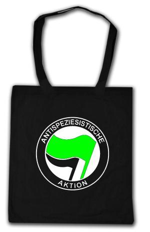 Baumwoll-Tragetasche: Antispeziesistische Aktion (grün/schwarz)