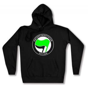 taillierter Kapuzen-Pullover: Antispeziesistische Aktion (grün/schwarz)
