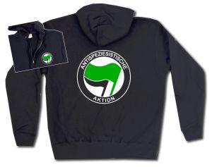 Kapuzen-Jacke: Antispeziesistische Aktion (grün/schwarz)