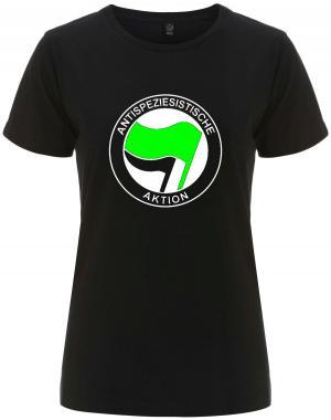 tailliertes Fairtrade T-Shirt: Antispeziesistische Aktion (grün/schwarz)