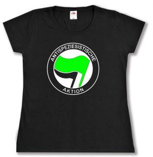 Girlie-Shirt: Antispeziesistische Aktion (grün/schwarz)