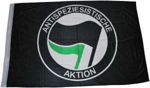 Fahne / Flagge: Antispeziesistische Aktion (schwarz, schwarz/grün)